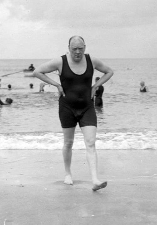 Winston Churchill in a bathing costume