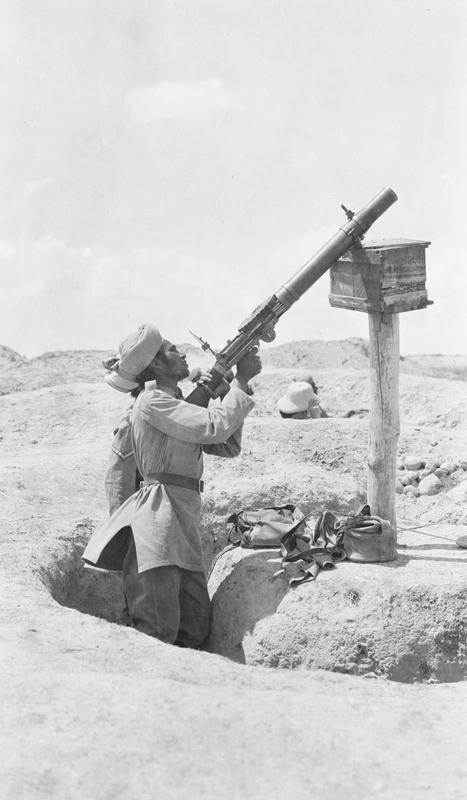 Indian Sepoy using Lewis gun as Archie, 1917