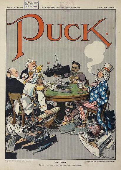 Mr. Mulliner with the Kaiser and Uncle Sam in a cartoon from 'Puck'
