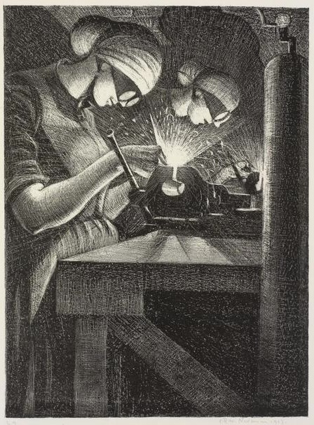The acetylene welder making aircraft, from a series of lithograp