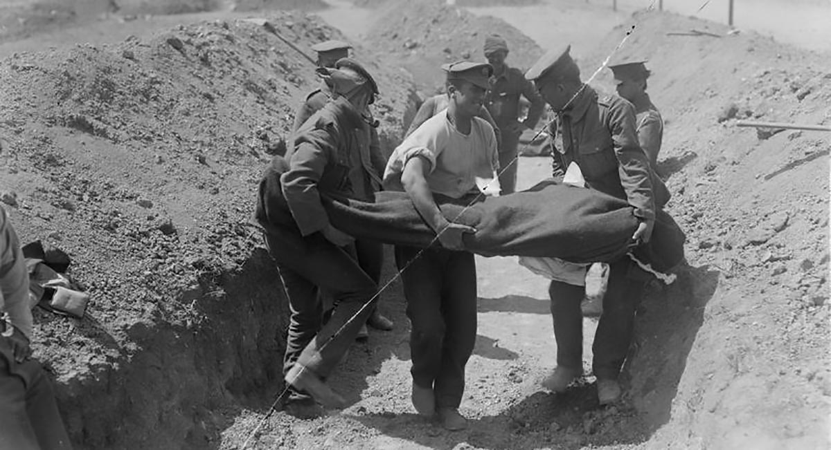 A burial party at work on the Gallipoli Front