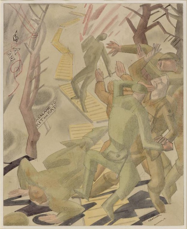 Drawing by William Roberts of a group of British soldiers caught in an explosion as they make their way along a duckboard
